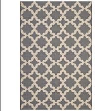 cerelia moroccan trellis 5x8 indoor and outdoor area rug in gray and beige