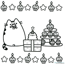 Pusheen Cupcake Party Gifts Coloring Pages Printable