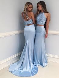 Light Blue Prom Dresses 2018 Shiny Two Piece Beads Blue Mermaid Long Prom Dress Evening