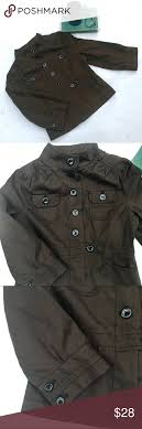 Old Navy Cropped Military Style Brown Jacket Xs See Size