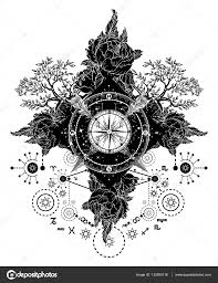 старинный компас тату тату искусства компас скрещенные стрелы