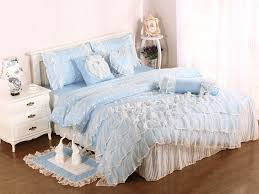 blue girls lace ruffle tulle full size duvet cover bedding sets