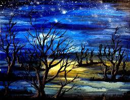 trees painting night scene trees by artist singh