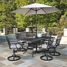 Outdoor dining sets with umbrella Rectangular Table Home Styles Largo 7piece Outdoor Patio Dining Set With Umbrella And Gray Cushions Home Depot Home Styles Largo 7piece Outdoor Patio Dining Set With Umbrella And