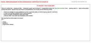 Visual Merchandiser Cover Letters Visual Merchandiser Job Experience Letter