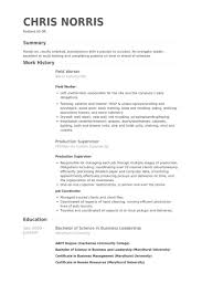 Field Worker Resume samples