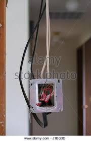 exposed wiring stock photos & exposed wiring stock images alamy Fuse Box Wires Exposed Hosuing Violation electrical wires exposed in a junction box during a major house renovation stock image