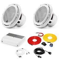JL Audio Marine Bass Package - M600/1 Amplifier, 2 M10IB5-CG-WH 10