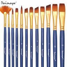 dainayw 12pcs set diffe shape nylon hair paint brushes artist oil watercolor painting brush for