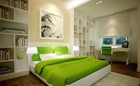 bedroomGreen Blanket White Bookshelf Ceiling Lighting Green Chairs White  Desk Table Hardwood Floor Feng