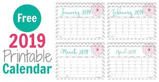 Free 2019 Printable Calendar Keeping Life Sane