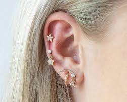 Tiny Flower Trio CZ Stud Earring Conch Circle Stud Earring | Etsy in 2020 |  Auricle piercing, Earings piercings, Cartilage piercing