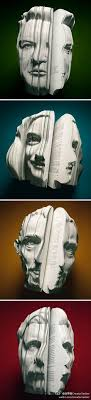 these artist book are made by giving the book faces the faces adds shapes towards the book its made by them cutting the book to create diffe things