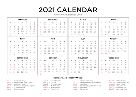 Big date boxes provide ample space for marking down notes. Free Printable Year 2021 Calendar With Holidays