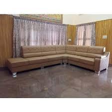 Teak <b>Wood Artificial Leather Modern</b> Living Room L Shape Sofa Set ...
