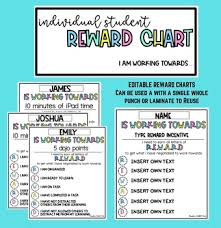 Editable Reward Chart Student Reward Chart Editable