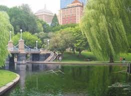richard brady realistic painting of boston public garden with people walking near foot bridge with willow