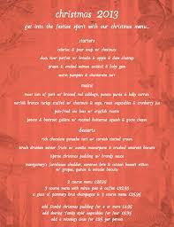 Christmas Lunch/Dinner Menu