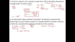 practice problems solutions concentration and molarity