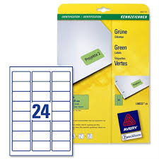 Avery Green Coloured Labels Laser 63 5x33 9mm 20 X 24 Labels 480 In Total L6033 20