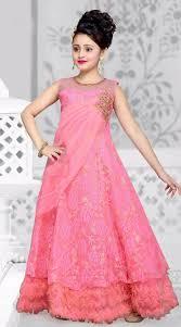 Designer Gowns For Girls Pink Net Kids Girl Designer Gown With Floral Dtk2652