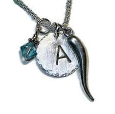 italian horn hand sted sterling silver initial charm necklace
