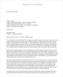 Sample College Reference Letters 37 Simple Recommendation Letter Template Free Word Pdf Documents