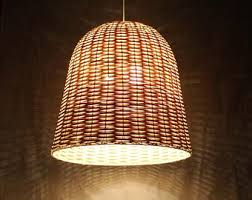 rattan lighting. Bell Shaped Rattan Lighting Fixtures-Pendant Lights-Rustic Lighting-Dining Room