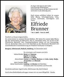 Todesanzeige Für Elfriede Brunner Vom 19122016 Vn Todesanzeigen