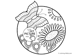 Coloring Pages Nature Page Butterfly With Flowers For Kids Printable