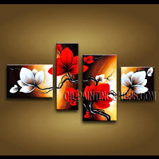 astonishing contemporary wall art hand painted art paintings for living room tulip flowers this 4 panels canvas wall art is hand painted by anmi
