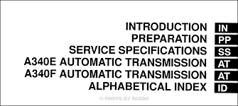 toyota tundra automatic transmission repair shop manual table of contents