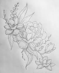 Peony And Magnolia дотворк браслет тату эскиз тату и татуировка