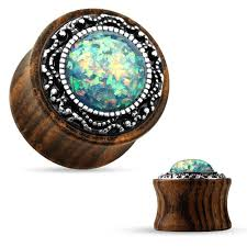 details about pair wood w glittered opal green saddle flare ear plugs 06mm 2 gauge jewe