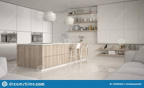 Modern Kitchen Shelves Design Modern White And Wooden Kitchen With Shelves And Cabinets