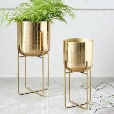 home decor product spun metal standing planter brass medium linon