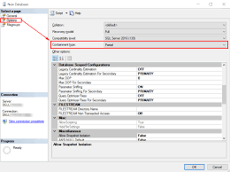 how to connect to external microsoft sql server database from microsoft sql server management studio new database options partial containment type