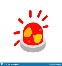 Emergency Light Logo Siren Red Flashing Emergency Light Isometric Icon Stock