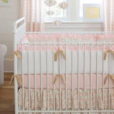 pale pink and gold chevron crib bedding