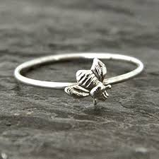 sterling silver bee ring silver stacking ring thumb ring handmade artisan jewelry