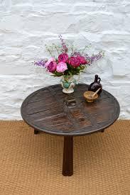 18thc ox cart wheel coffee table