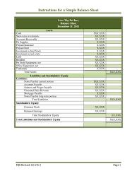 Basic Instructions For A Simple Balance Sheet | Balance Sheet ...