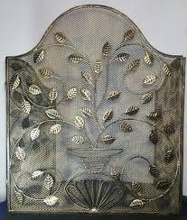 vintage 3 panel fireplace screen cover leaf leaves design art deco