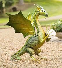 green dragon garden statue with solar