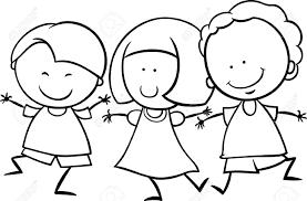 かわいい幸せの多文化の子供男の子と塗り絵の美少女キャラクターの黒と白の漫画イラスト