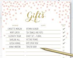 Printable Bridal Shower Gift List Template Printable Gift List Etsy