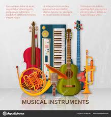 Hudební Kulisu Z Různých Hudebních Nástrojů Houslový Klíč A