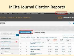 Thomson Reuters Journal Citation Reports Incites Ppt Download