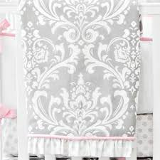 pink and gray damask baby blanket stella gray crib collection