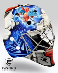 transformers goalie mask designed and airbrushed by ian johnson